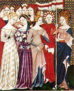 Italian breviary showing women's figured silk gowns